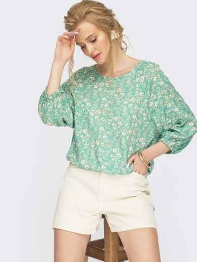 Зеленая блузка с цветочным принтом  54469, фото 1