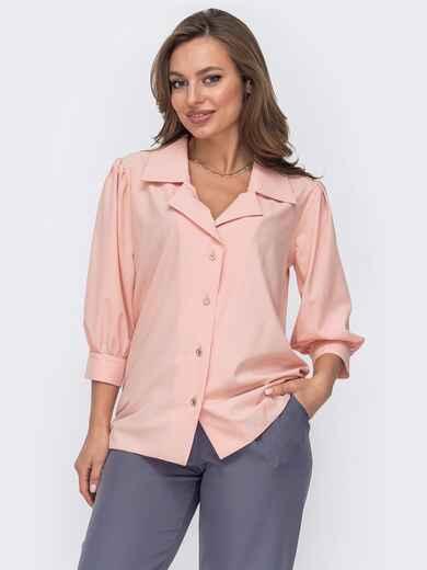 Блузка из софта с рукавами ¾ пудровая 53424, фото 1