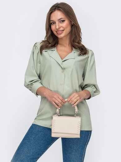 Блузка из софта с рукавами ¾ зеленая 53423, фото 1