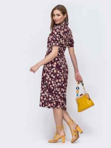 Бордовое платье с резинкой в поясе и с воротником «аскот» 48535, фото 2