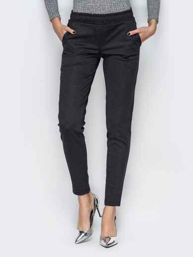 Черные брюки с поясом-резинкой и карманами-обманками 10317, фото 1
