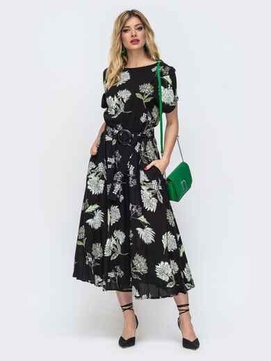 Расклешенное платье с принтом и напуском по талии чёрное 46872, фото 1