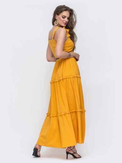Жёлтый сарафан с рюшами на расклешенной юбке  48603, фото 2