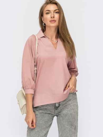 Пудровая блузка с отложным воротником и V-образным вырезом 54831, фото 1