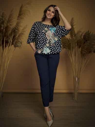 Брючный комплект большого размера с блузкой тёмно-синий - 47159, фото 2 – интернет-магазин Dressa
