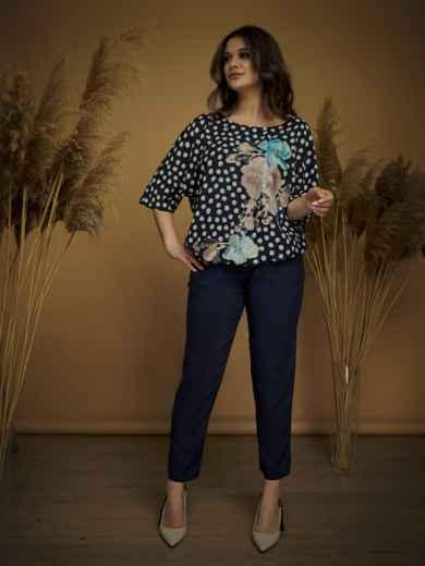 Брючный комплект большого размера с блузкой тёмно-синий - 47159, фото 3 – интернет-магазин Dressa