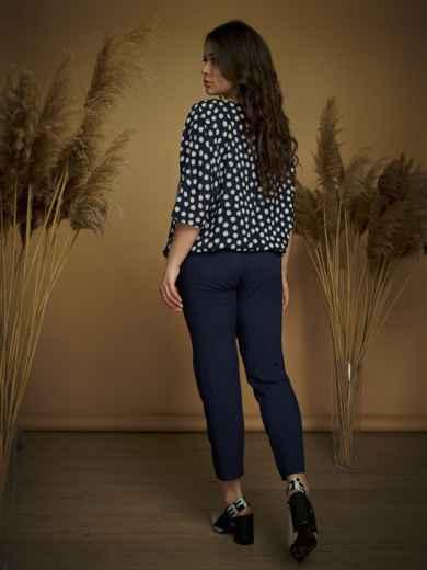 Брючный комплект большого размера с блузкой тёмно-синий - 47159, фото 4 – интернет-магазин Dressa