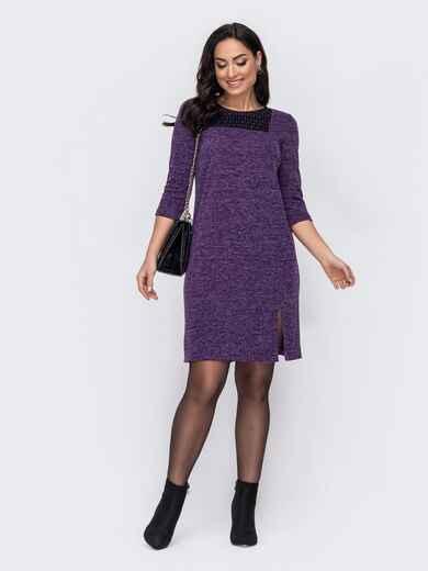 Фиолетовое платье батал с разрезом сбоку 52739, фото 1