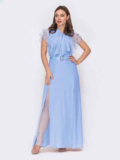 """Голубое платье с воротником-аскот и рукавом """"крылышко"""" 53669, фото 1"""