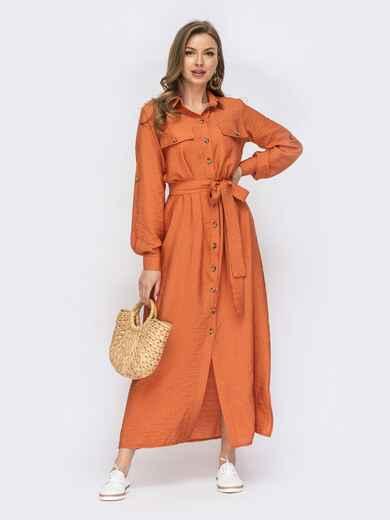 Оранжевое платье-рубашка с пуговицами 53811, фото 1