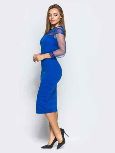 Платье из дайвинга с фатиновой кокеткой и рукавами цвета электрик - 18232, фото 2 – интернет-магазин Dressa