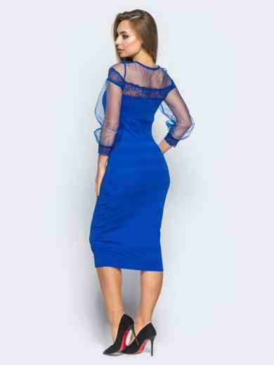 Платье из дайвинга с фатиновой кокеткой и рукавами цвета электрик - 18232, фото 3 – интернет-магазин Dressa