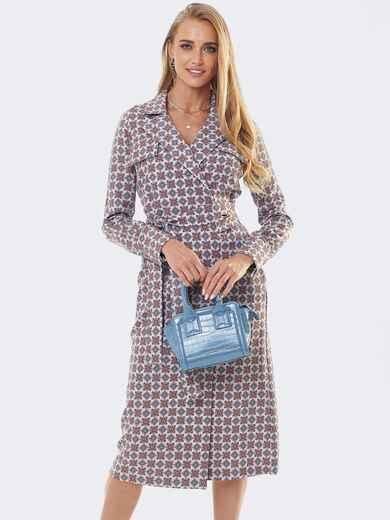 Платье на запах с английским воротником и принтом бордового цвета 53447, фото 1