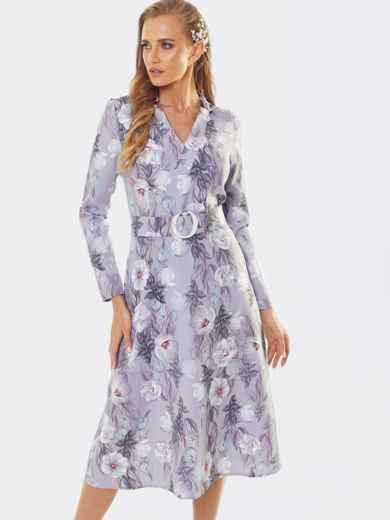 Платье в цветочный принт с юбкой-трапецией фиолетовое 53445, фото 1