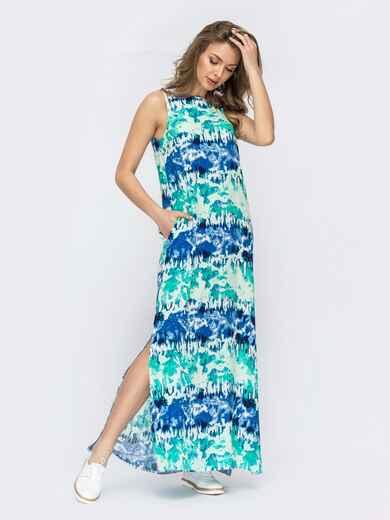 Принтованное платье-макси из поплина с разрезами бирюзовое 53450, фото 1