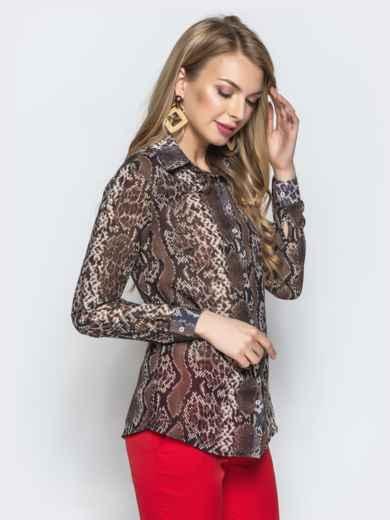 e5ed725ad7f Рубашка с анималистичным принтом из шифона коричневая 21963 – купить ...