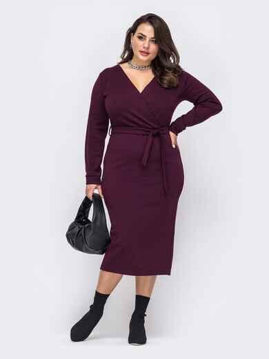 Трикотажное платье-миди большого размера бордовое 51241, фото 1