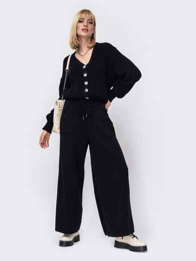 Вязаный костюм черного цвета из кофты и брюк 52953, фото 1