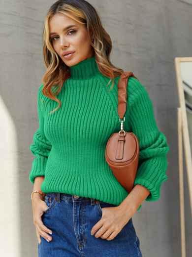 Вязаный свитер с высоким воротником зелёный 54909, фото 1