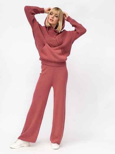 Вязаный терракотовый костюм из кофты с капюшоном и брюк 52922, фото 1