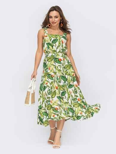 Зеленый костюм из топа и юбки-клеш с цветочным принтом 53456, фото 1