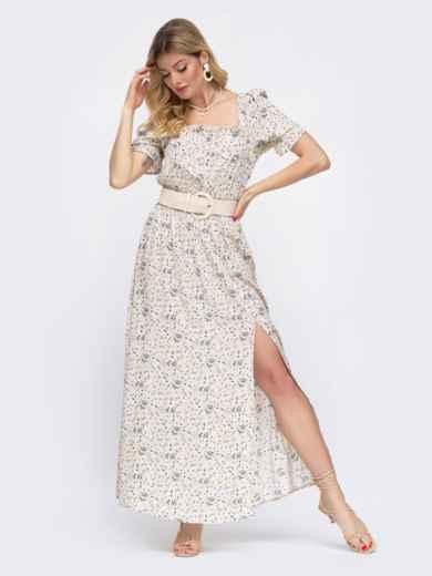 Бежевое платье-макси в цветочный принт с разрезом 48056, фото 2