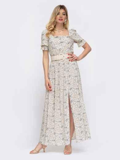 Бежевое платье-макси в цветочный принт с разрезом 48056, фото 3