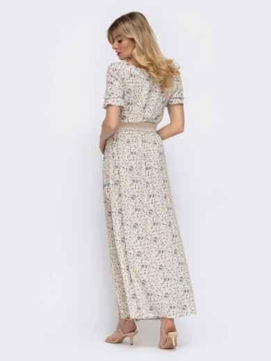Бежевое платье-макси в цветочный принт с разрезом 48056, фото 4