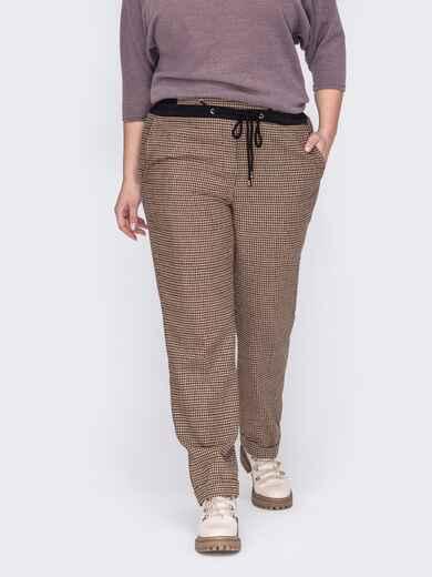 Бежевые брюки большого размера с карманами по бокам 53107, фото 1