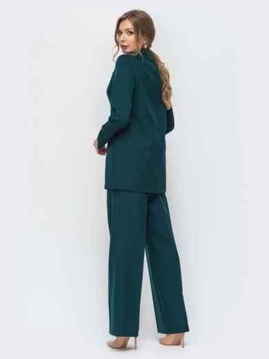 Брючный костюм с жакетом на пуговицах тёмно-зелёный 44940, фото 2