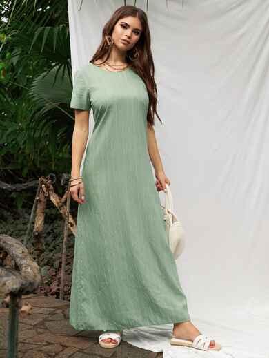 Длинное платье с коротким рукавом зеленое 53775, фото 1