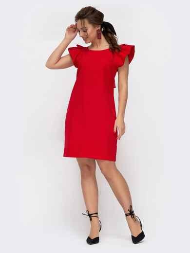 Красное платье приталенного кроя с V-вырезом по спинке 46652, фото 1