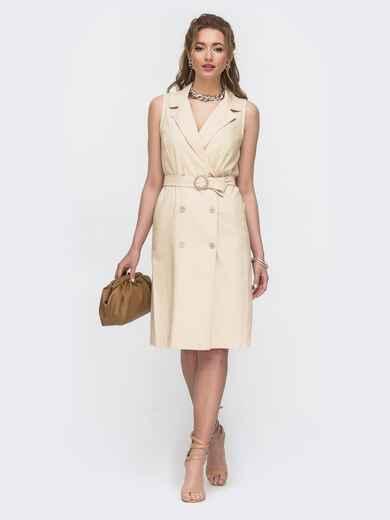 Льняное платье-пиджак с поясом бежевое 46662, фото 1