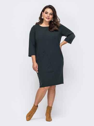 Платье батал в стиле oversize с накладным карманом зеленое 51510, фото 1