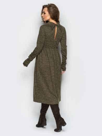 """Платье из трикотажа """"ангора"""" с расклешенным низом хаки 28242, фото 2"""