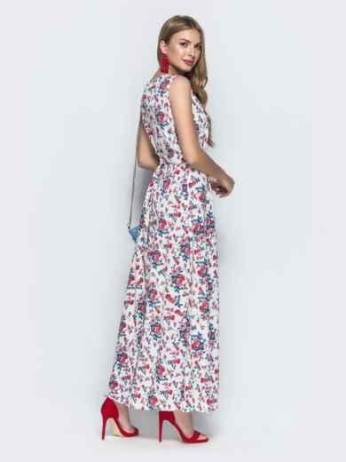 Платье-макси с красными принтом и разрезом 39486, фото 3