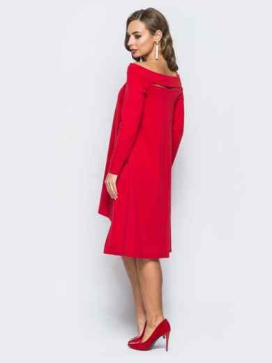 Платье с открытыми плечами и вырезом на полочке красное - 18057, фото 2 – интернет-магазин Dressa