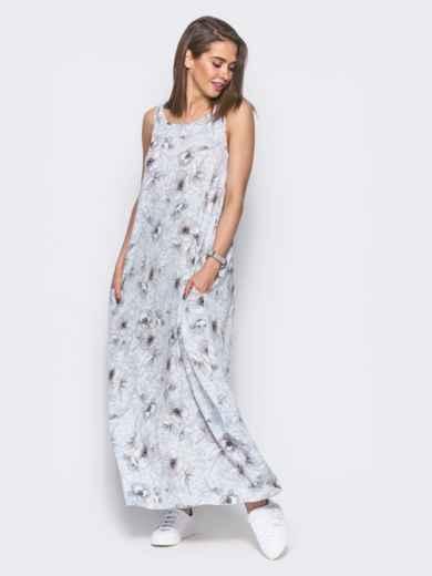 Платье в пол с нежным цветочным принтом голубое - 11656, фото 2 – интернет-магазин Dressa