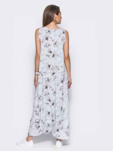 Платье в пол с нежным цветочным принтом голубое - 11656, фото 3 – интернет-магазин Dressa