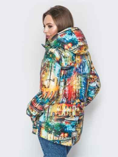 Принтованная куртка с капюшоном и карманами жёлтая - 20263, фото 2 – интернет-магазин Dressa