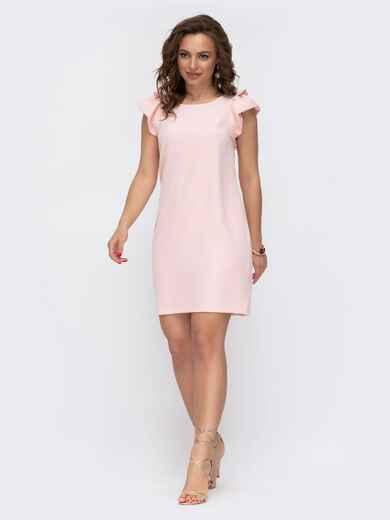 Пудровое платье приталенного кроя с V-вырезом по спинке 46653, фото 1