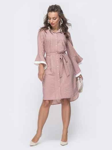 Пудровое платье-рубашка в полоску со шлейфом 46660, фото 1