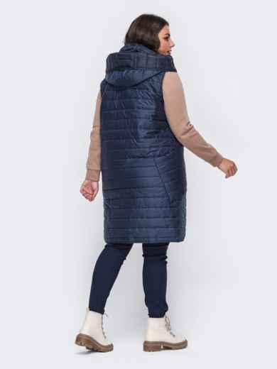 Стеганый жилет большого размера с капюшоном синий 50943, фото 2