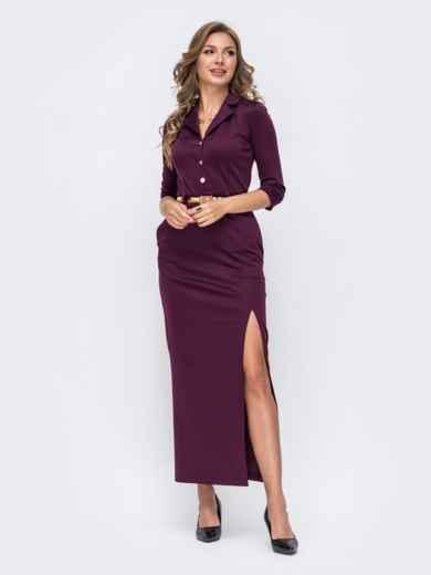 Обтягивающее платье бордового цвета с высоким разрезом  50578, фото 1