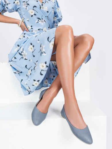 Голубые балетки из искусственной кожи 47490, фото 1