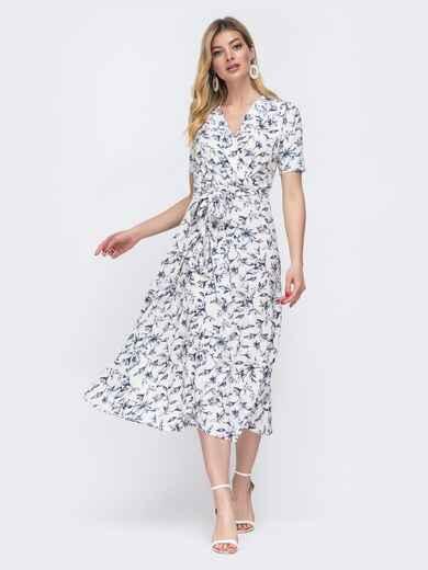 Белое платье в мелкий цветок с лифом на запах 48539, фото 1