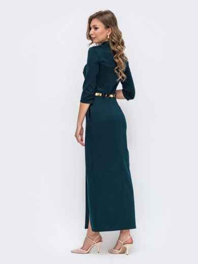 Обтягивающее платье зелёного цвета с высоким разрезом  50579, фото 2