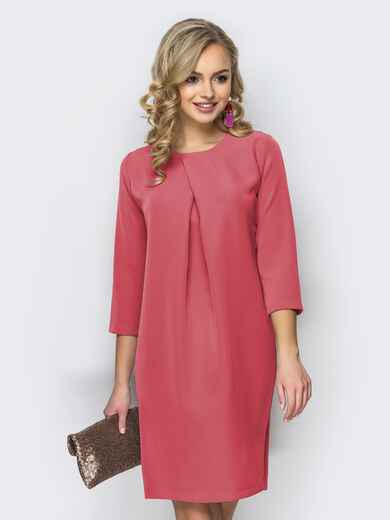 Платье свободного кроя со складкой розовое 44730, фото 1