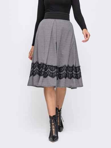 Серая юбка-полусолнце с кружевом по низу 50580, фото 1