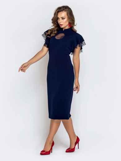 Синее платье-футляр с рюшами из фатина 40895, фото 2